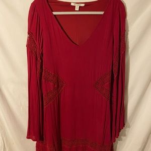 Red Embroidered Shift Dress with Flare Sleeves